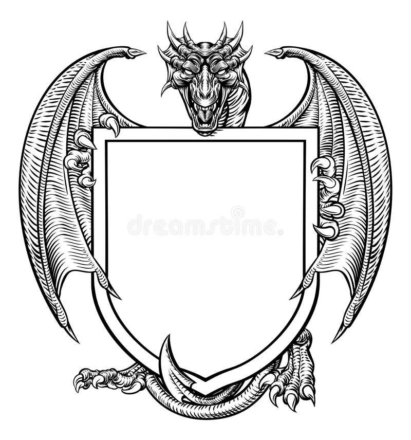 Dragon Crest Coat dell'emblema araldico dello schermo di armi illustrazione vettoriale