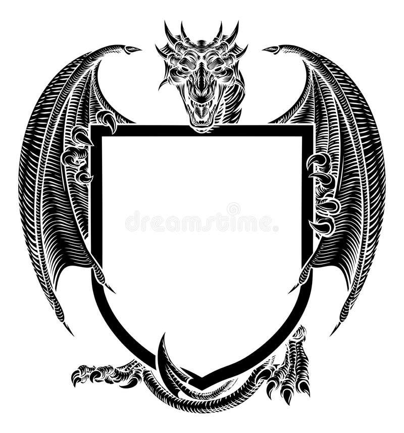 Dragon Crest Heraldic Coat van het Embleem van het Wapensschild vector illustratie