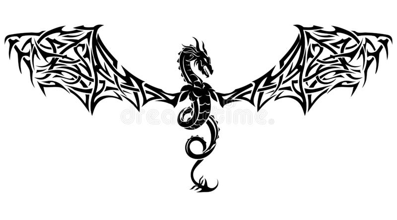 Dragon Crest Tattoo Wings stock de ilustración
