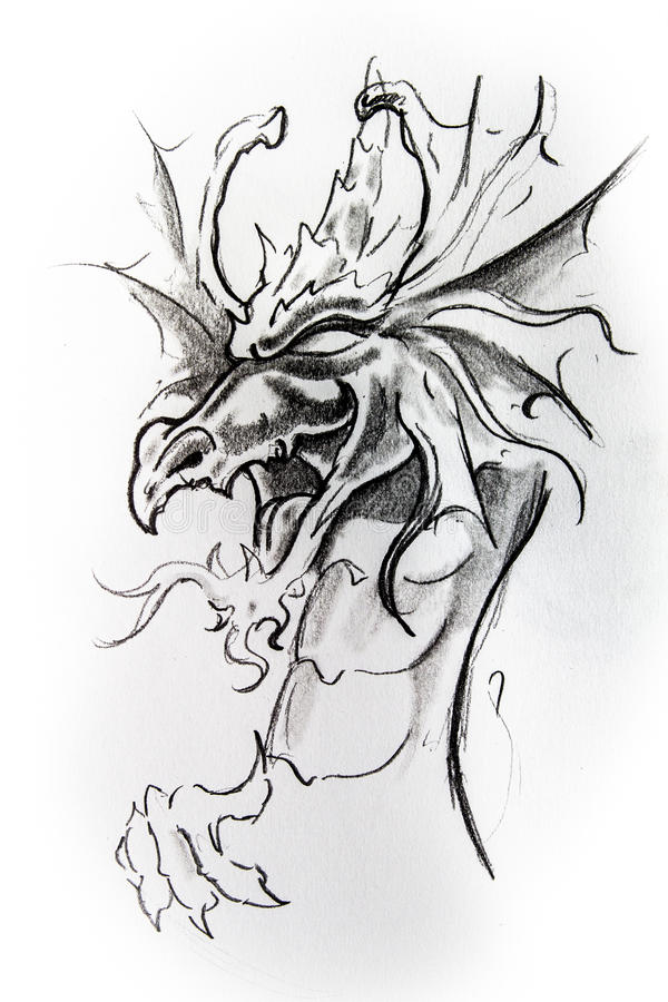 Dragon, croquis de tatouage illustration de vecteur