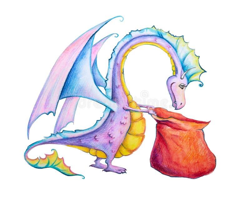 Dragon curieux avec un sac plein des cadeaux illustration stock