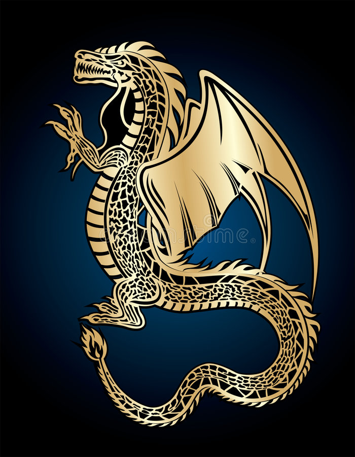 Dragon d'or illustration de vecteur