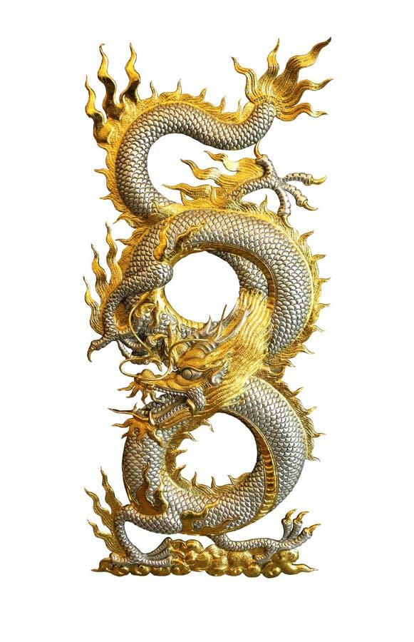 Dragon d'or argenté d'isolement sur le chemin de coupure blanc de fond photos libres de droits