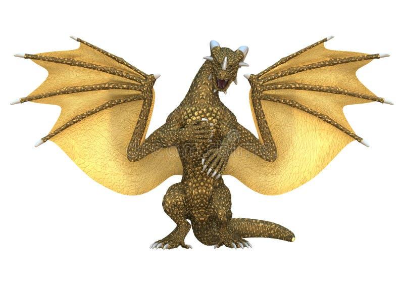 dragon d'imagination du rendu 3D sur le blanc illustration libre de droits