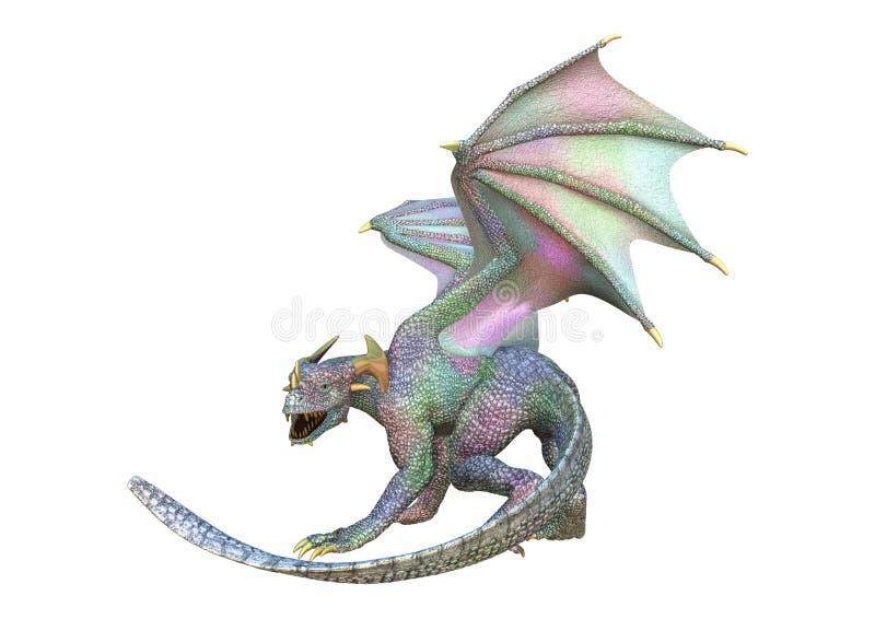 dragon d'imagination du rendu 3D sur le blanc illustration de vecteur
