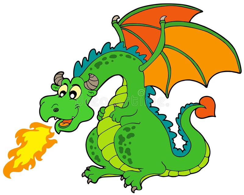 Dragon d 39 incendie de dessin anim illustration de vecteur - Dessin dragon couleur ...