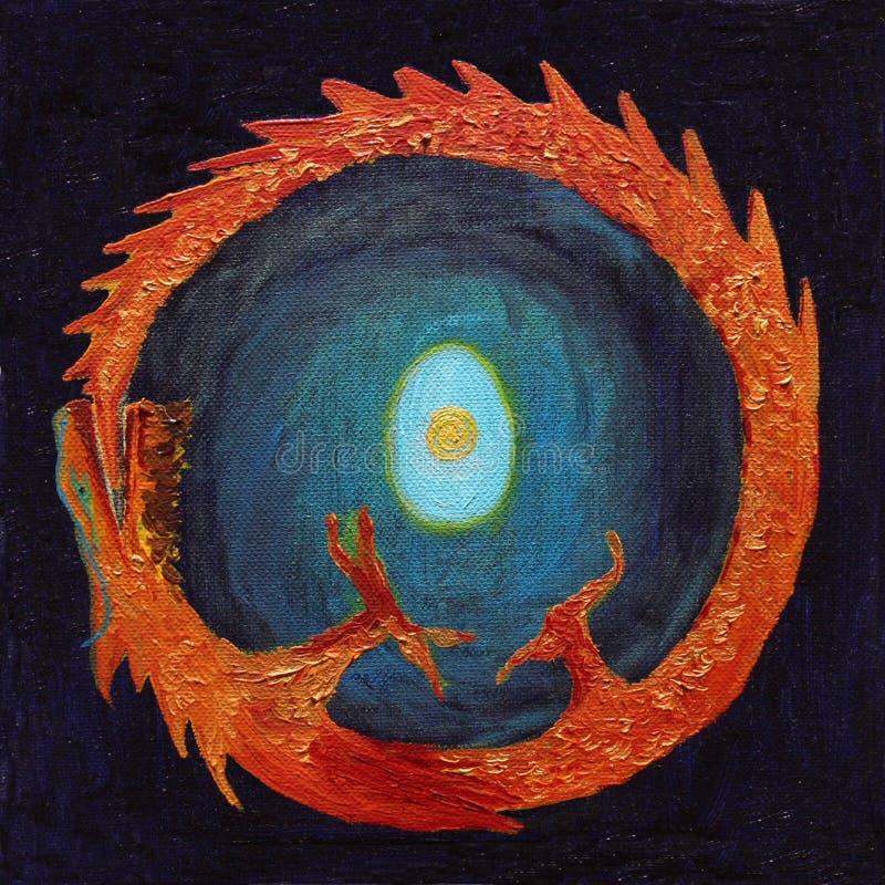 Dragon d'incendie mordant son arrière photo libre de droits
