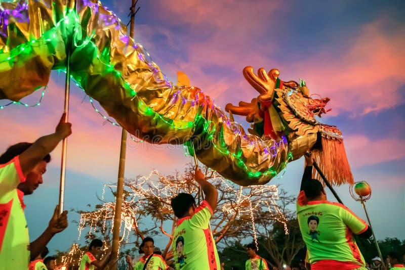 Dragon Dance em uma celebração chinesa do ` s do ano novo fotografia de stock royalty free