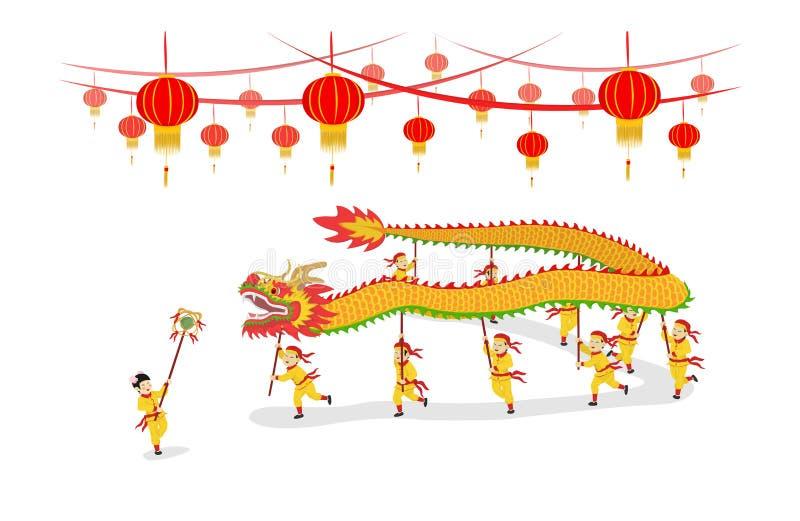 Dragon Dancing toont stock illustratie