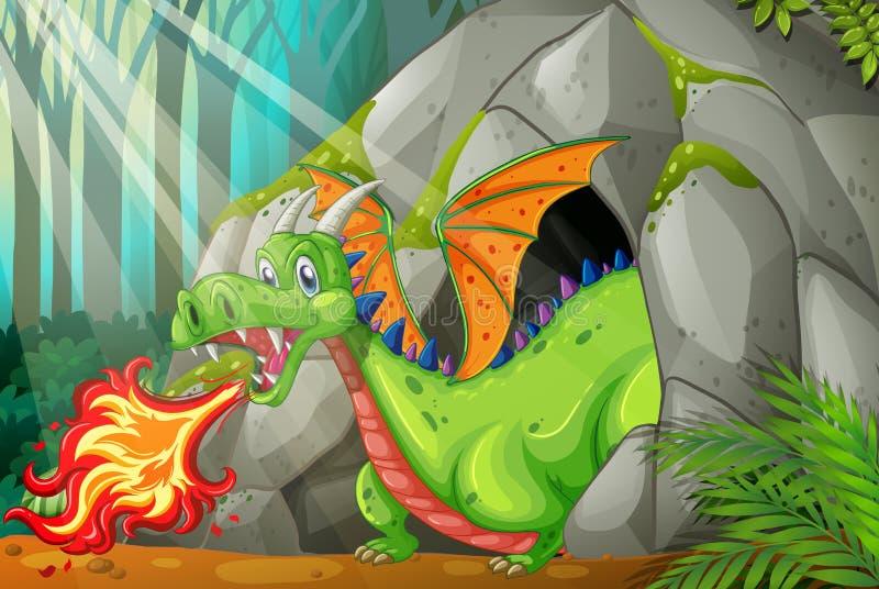 Dragon dans le feu de soufflement de caverne illustration stock