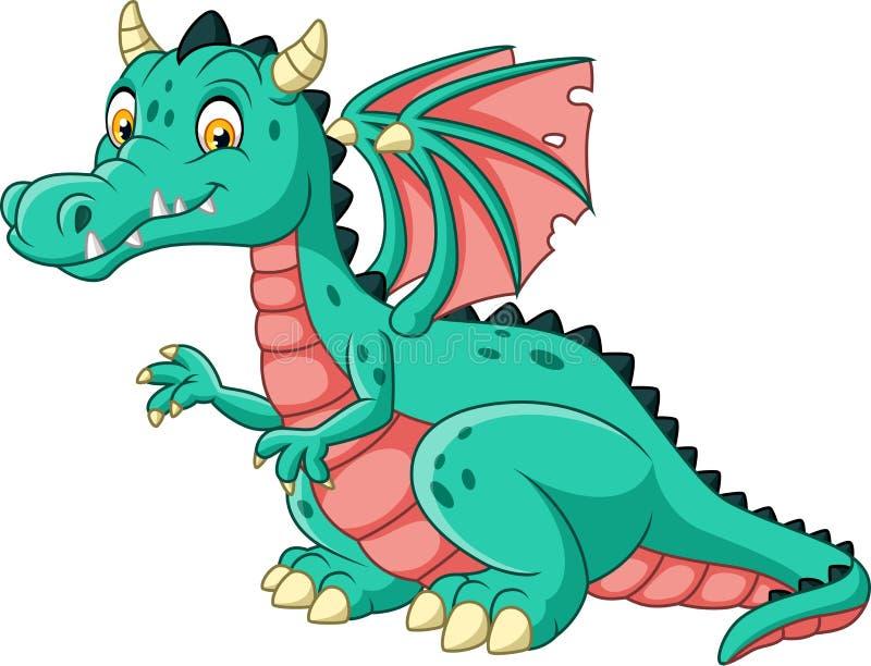 Dragon de bande dessinée d'isolement sur le fond blanc illustration stock