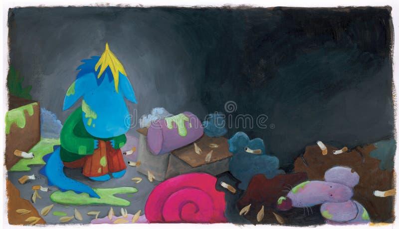 Dragon de bleus layette dans les déchets illustration libre de droits
