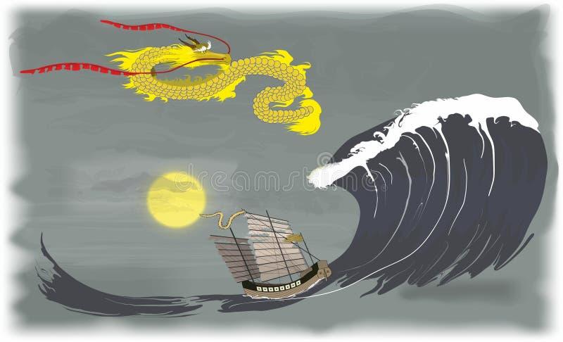 Dragon de l'Extrême Orient en mer illustration de vecteur