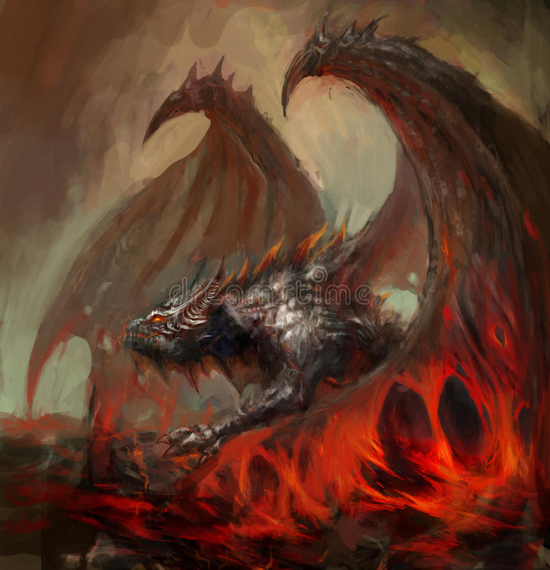 Dragon de lave illustration libre de droits