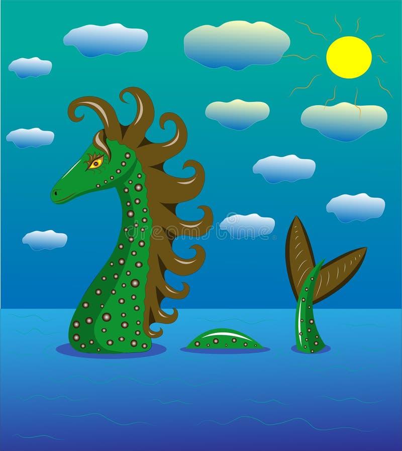 Dragon de mer en mer illustration stock