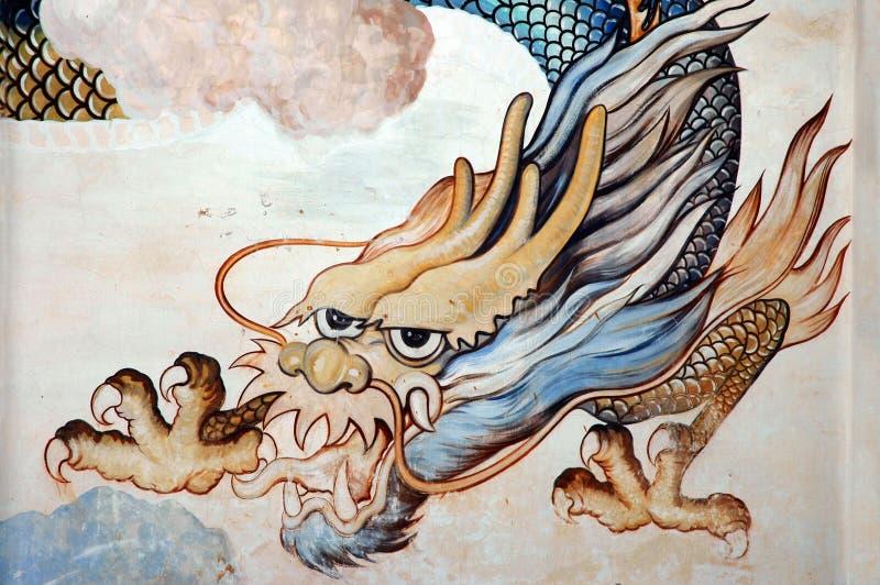 Dragon de mur de temple photographie stock libre de droits