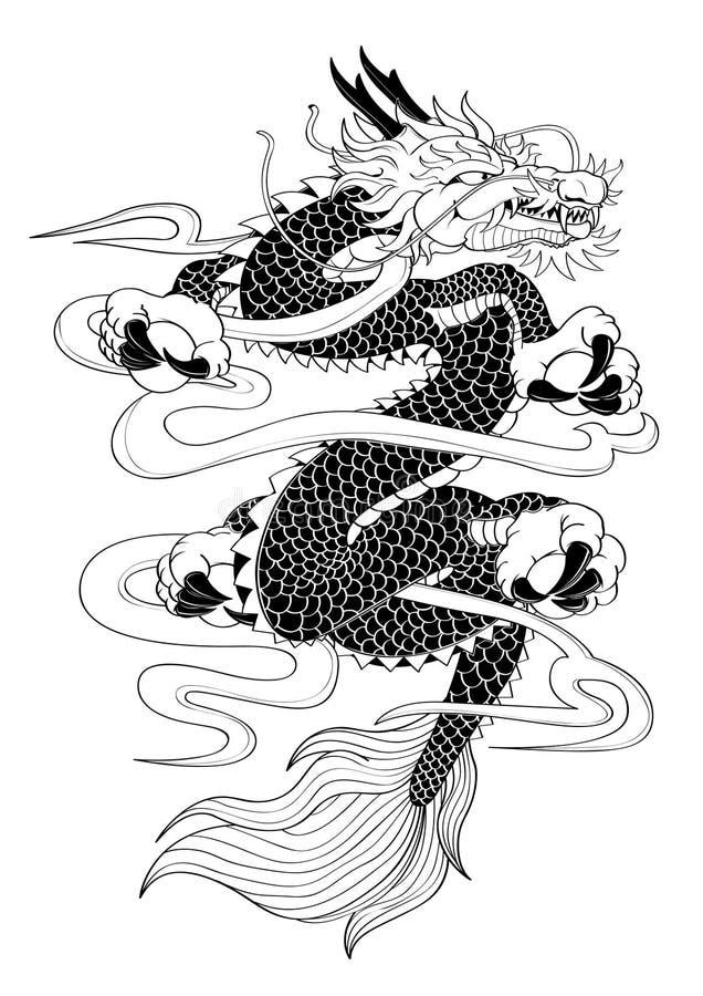 Dragon de style japonais de tatouage illustration de vecteur illustration du animaux dessin - Dragon japonais dessin ...