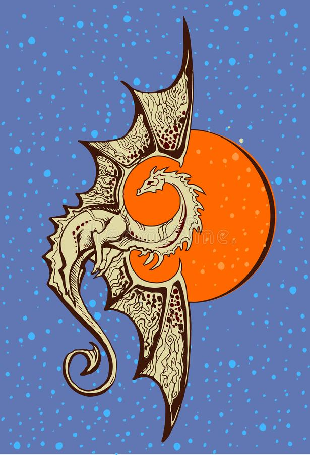 Dragon de symbole avec un fond du soleil orange illustration de vecteur