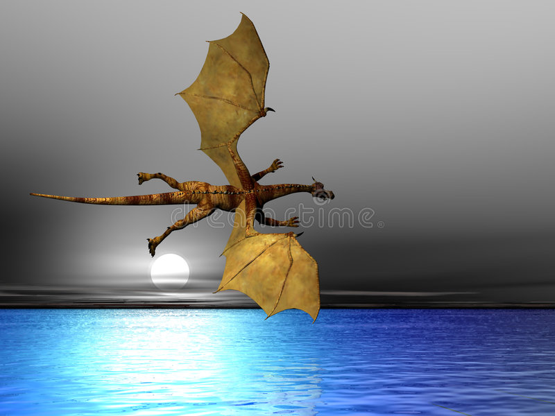Dragon de vol illustration stock