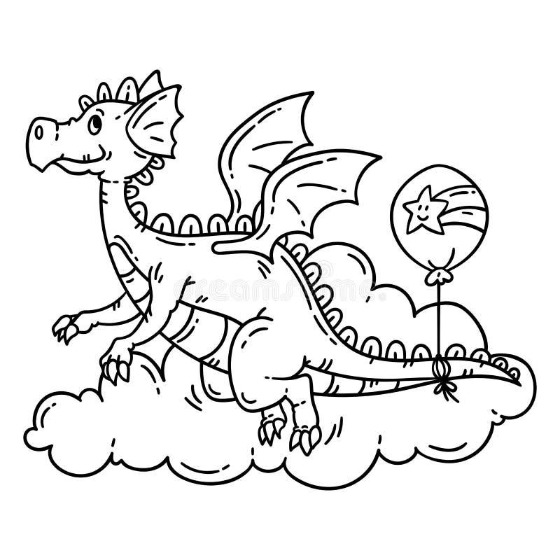 Dragon de vol mignon de bande dessinée Objets d'isolement sur le fond blanc Illustration de vecteur Livre de coloration illustration libre de droits