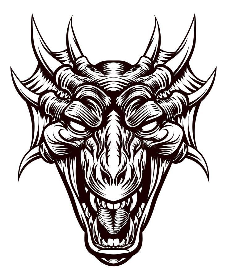 Dragon Demon Monster Head Face royalty free illustration