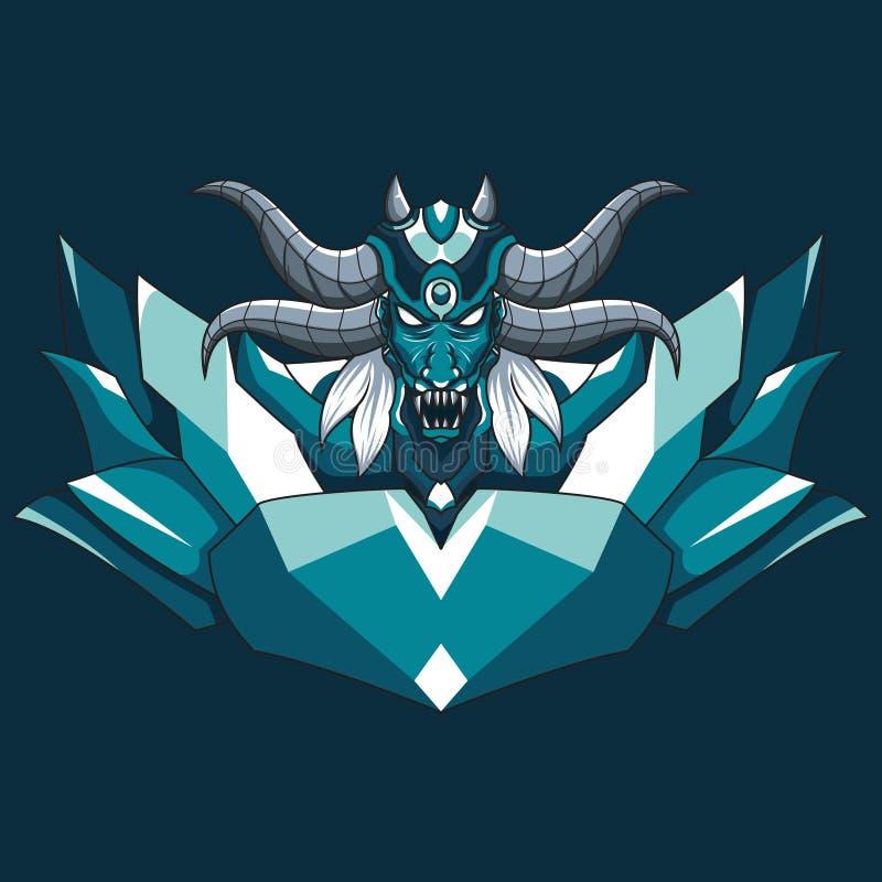Dragon demonic monster vector illustration. Mythical demon head illustration with horns and fangs vector illustration