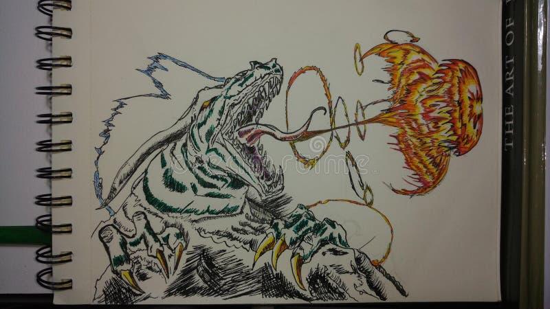 Dragon Depiction in Kleur met Inkt en Brand vector illustratie