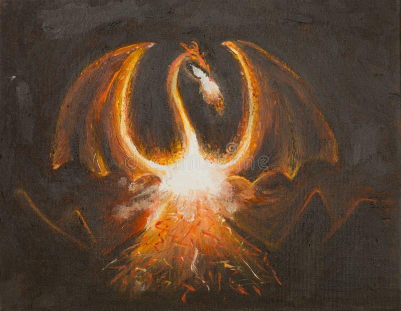 Dragon design, oil painting vector illustration