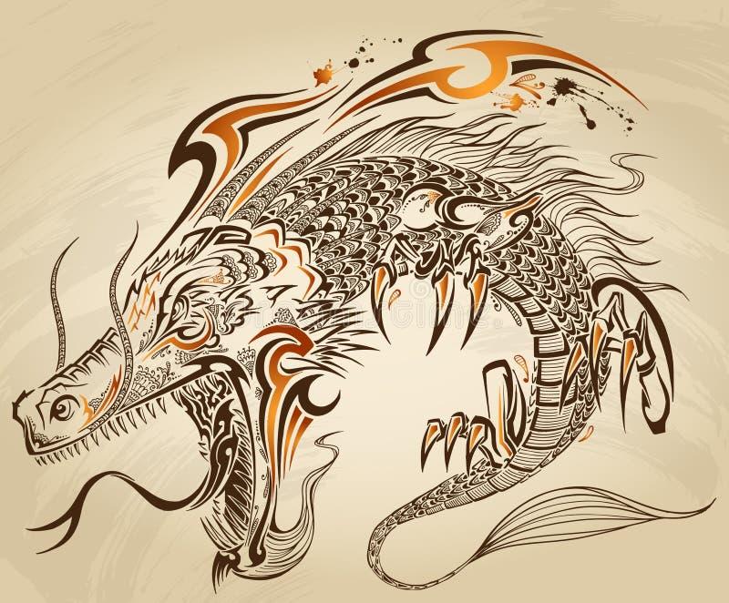 Dragon Doodle Tattoo Vector stock de ilustración