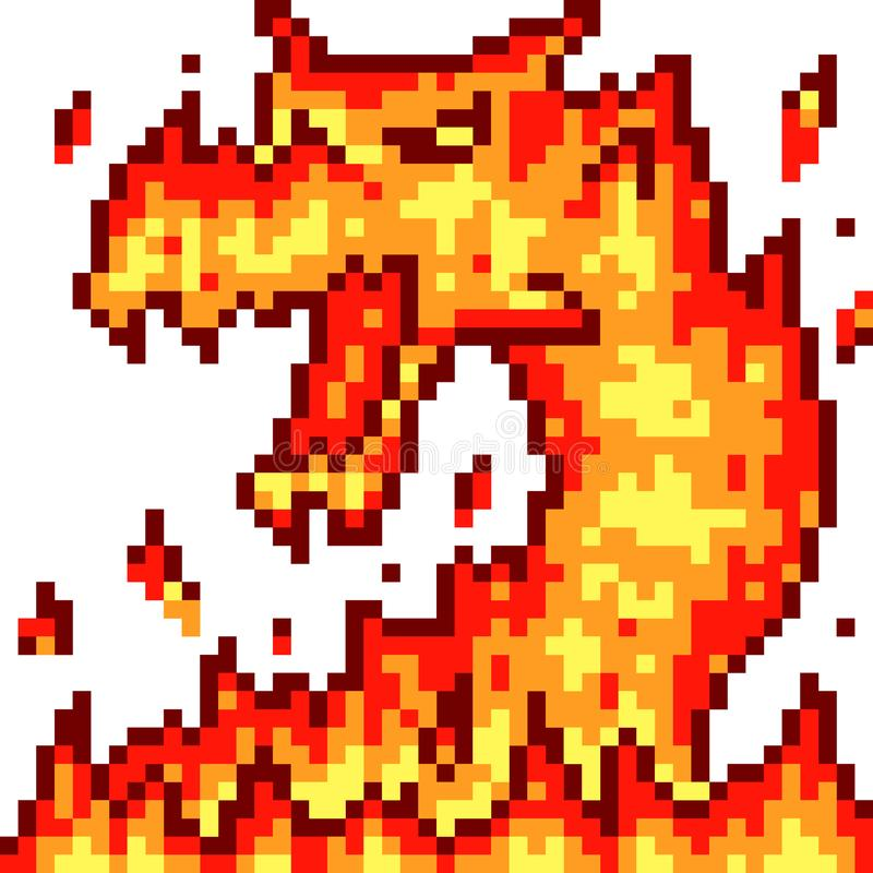 Dragon du feu d'art de pixel de vecteur illustration de vecteur