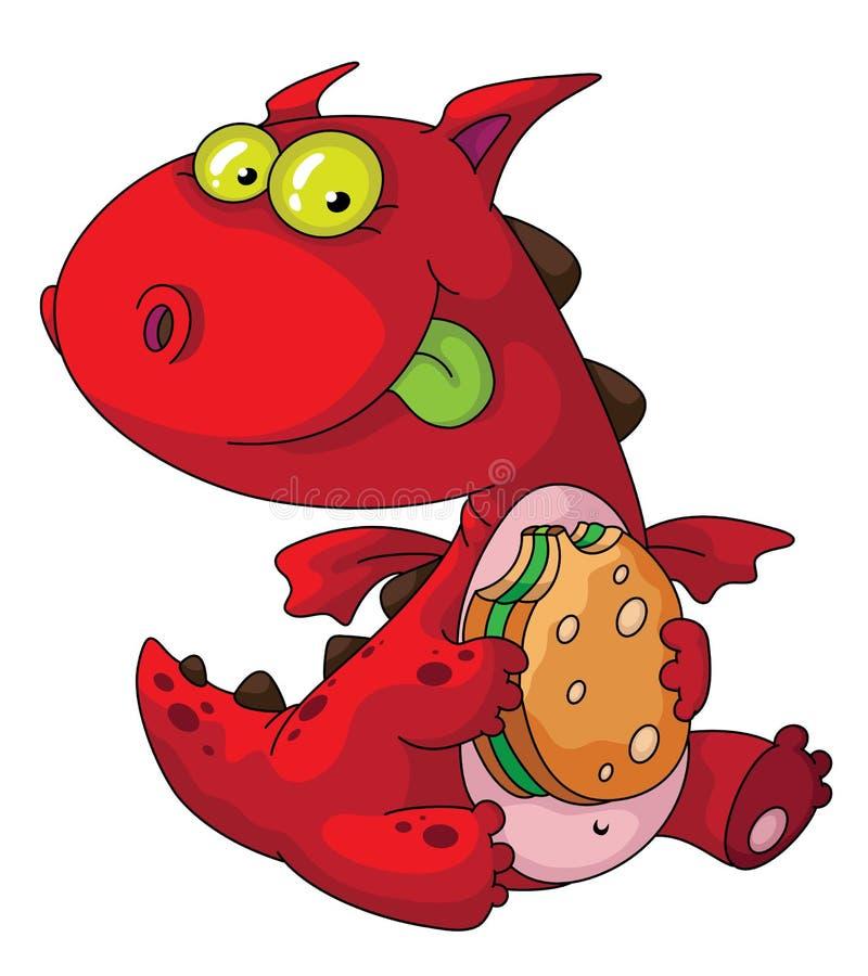 Download Dragon eating stock vector. Image of hamburger, meal - 20133624