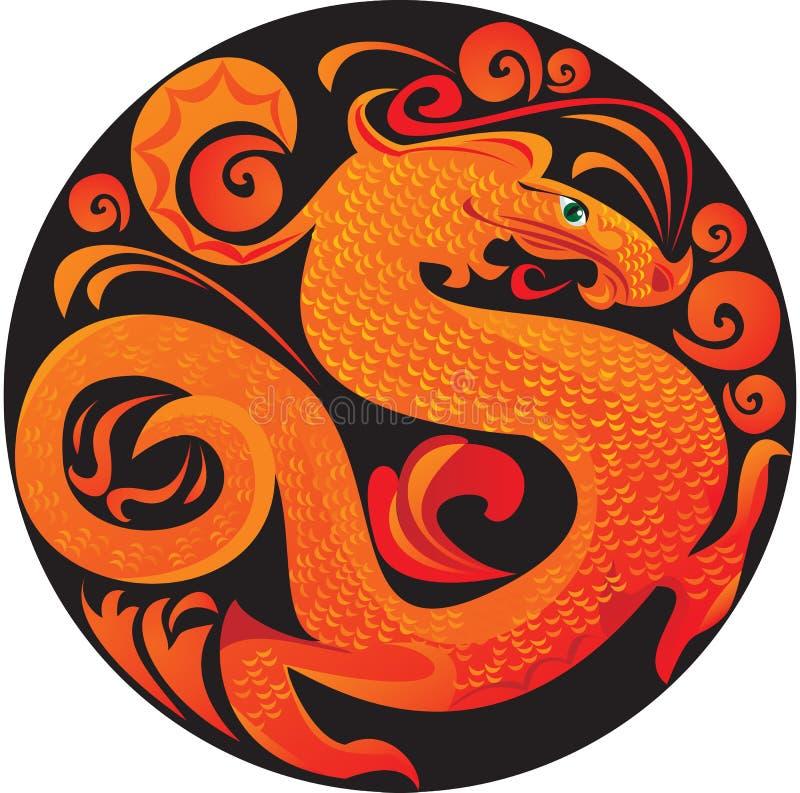 Dragon en cercle. illustration de vecteur