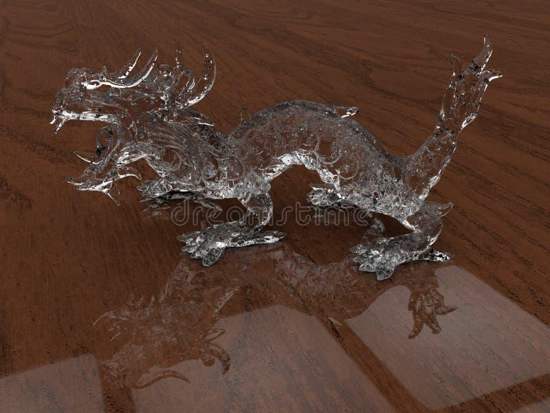 Dragon en verre - fond réfléchissant en bois illustration stock