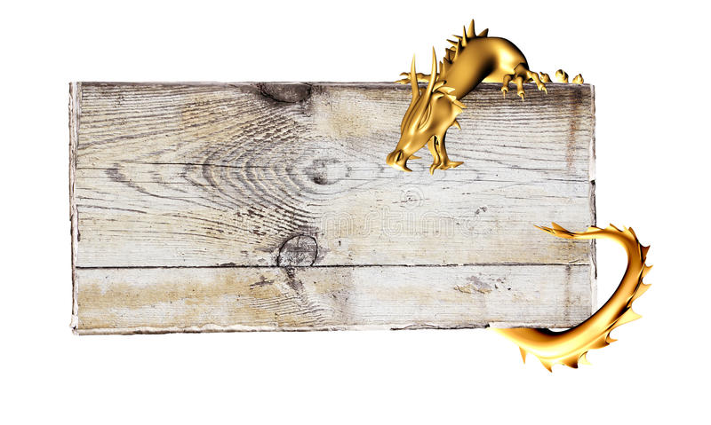 Dragon est d'or et vieille planche en bois illustration de vecteur