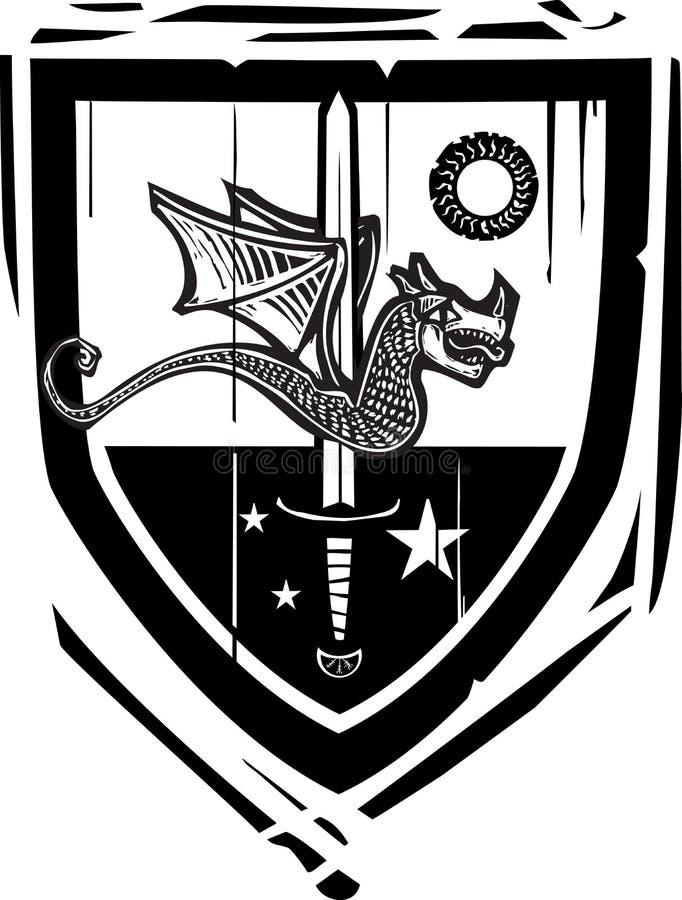 Dragon et épée héraldiques de bouclier illustration libre de droits