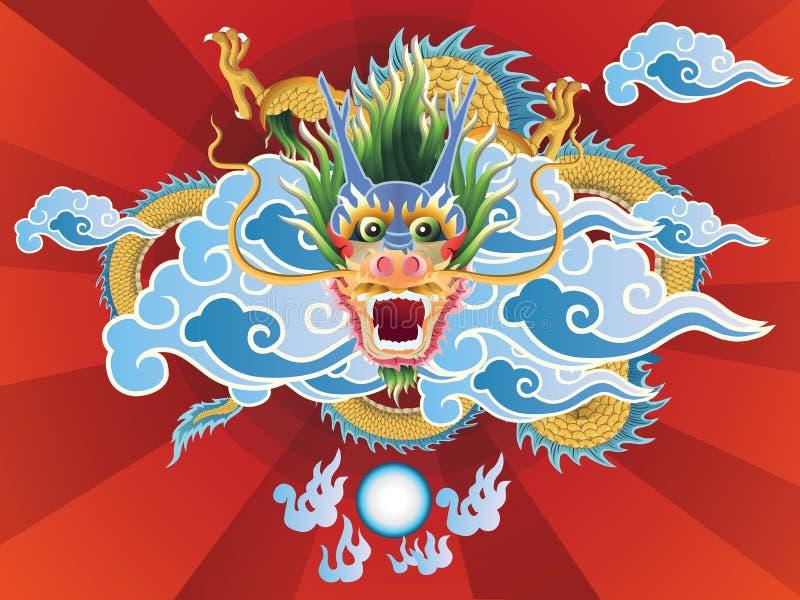 Dragon et boule de cristal sur le fond rouge illustration stock