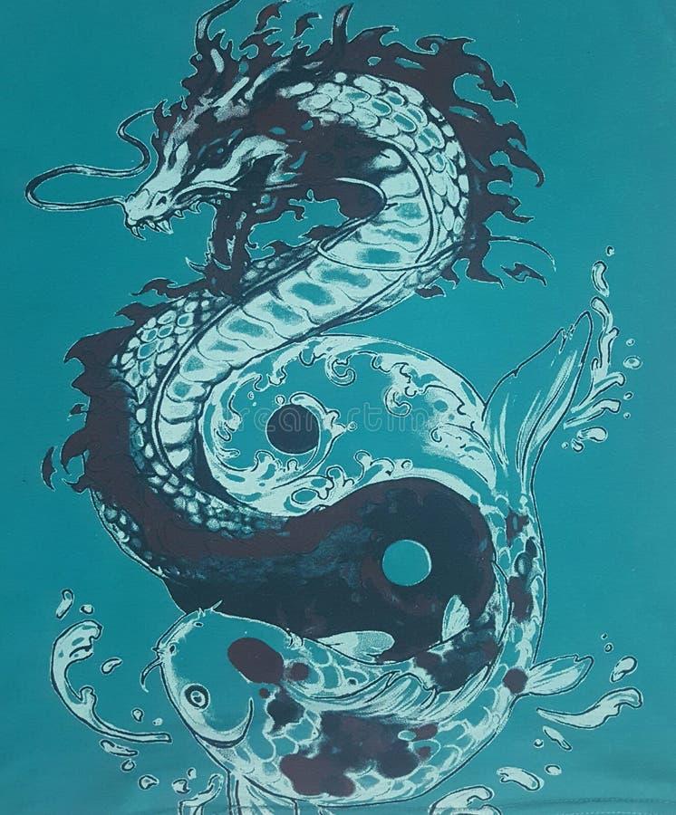 Dragon et carpe photographie stock