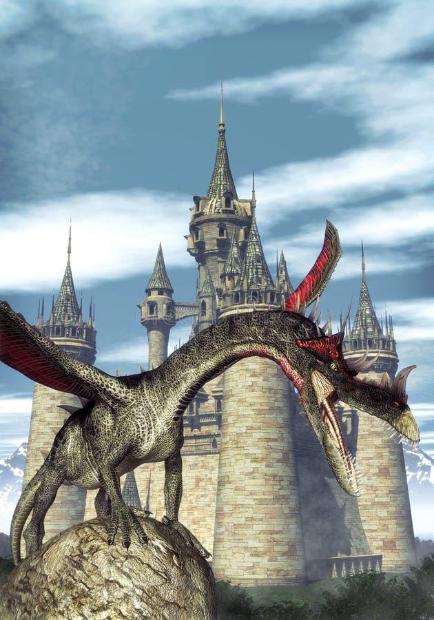 Dragon et château d'imagination illustration libre de droits