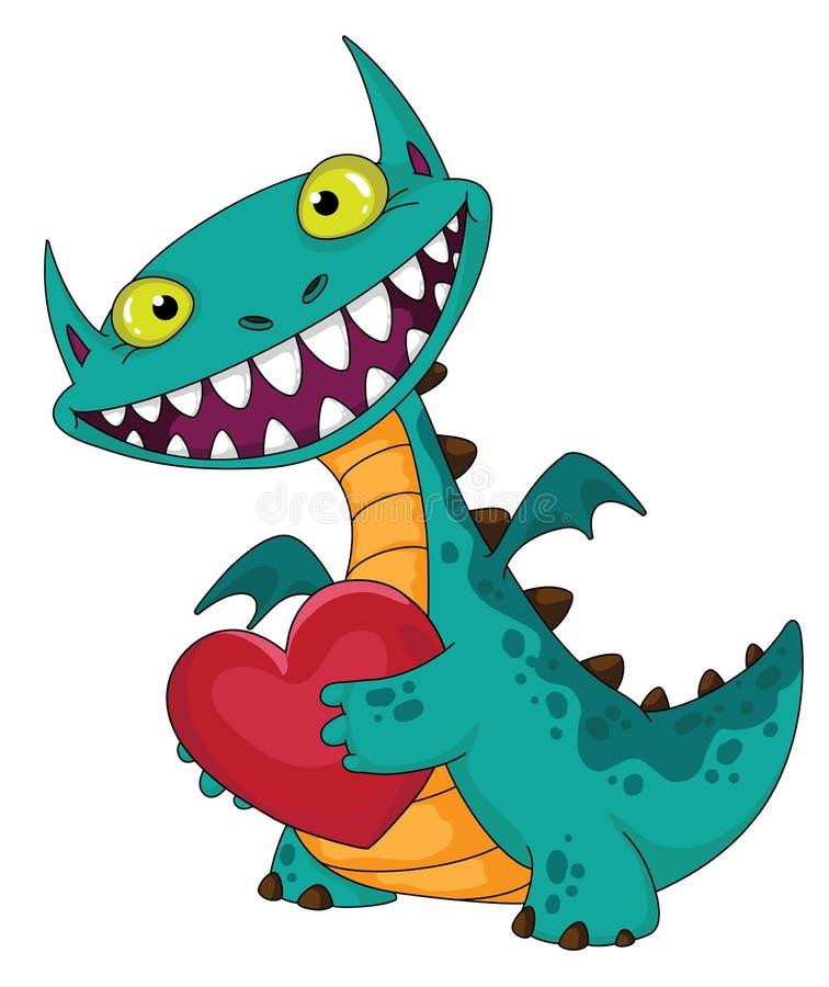 Dragon et coeur riants illustration stock