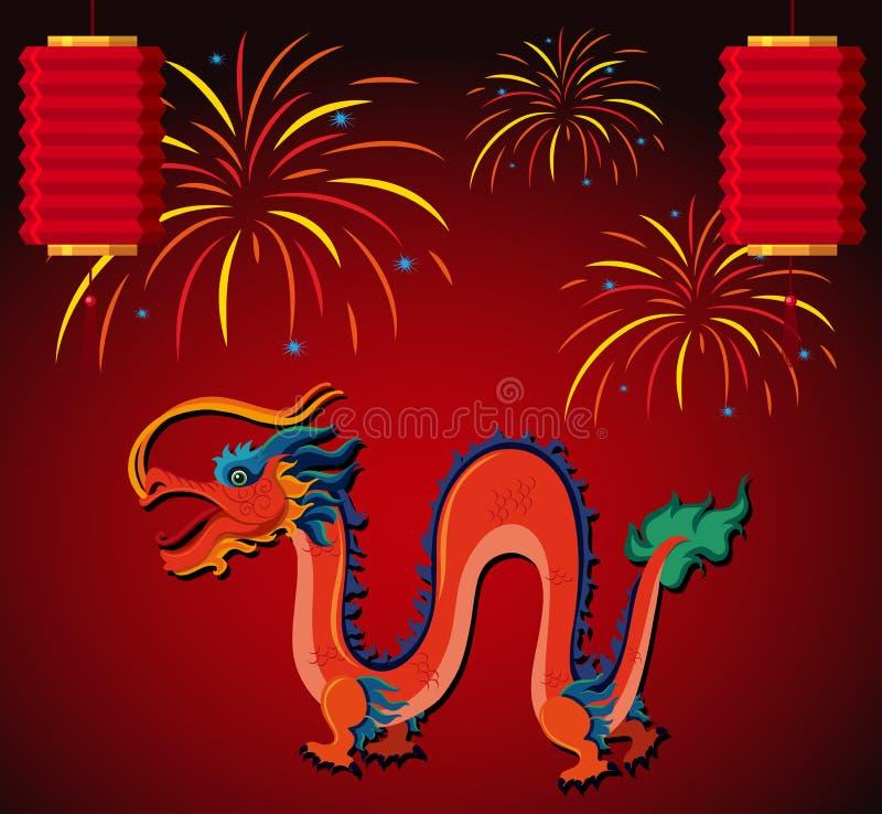 Dragon et lanterne chinois avec des feux d'artifice à l'arrière-plan illustration libre de droits
