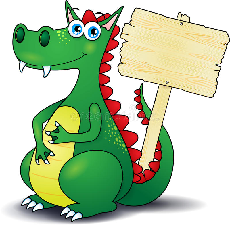 Dragon et signe en bois illustration libre de droits