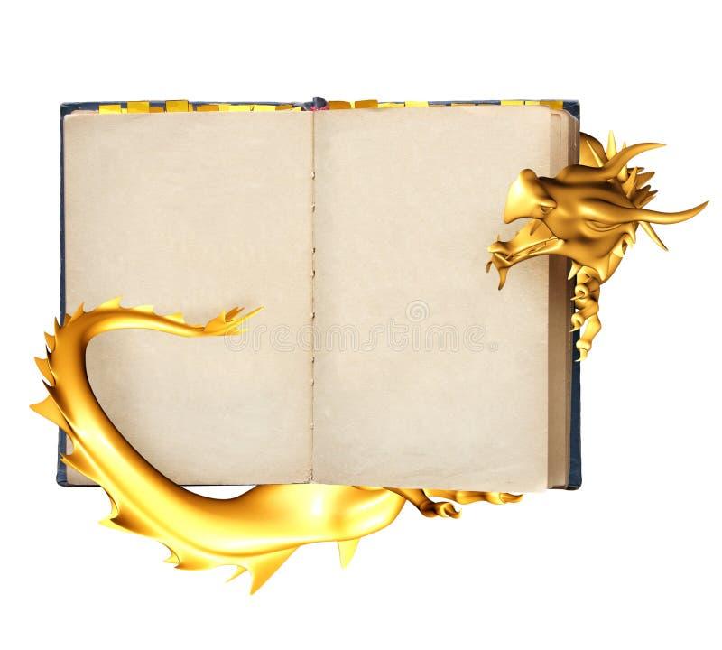 Dragon et vieux livre illustration de vecteur