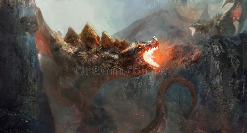 Dragon fight. Dragon to fight the dragon stock illustration