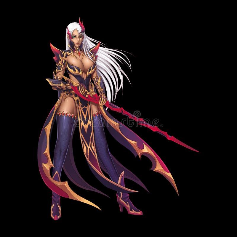Dragon Fighter, cavaleiro Girl com Anime e estilo dos desenhos animados isolado no fundo preto ilustração royalty free