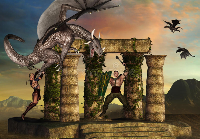 Dragon fights warriors royalty free stock photography