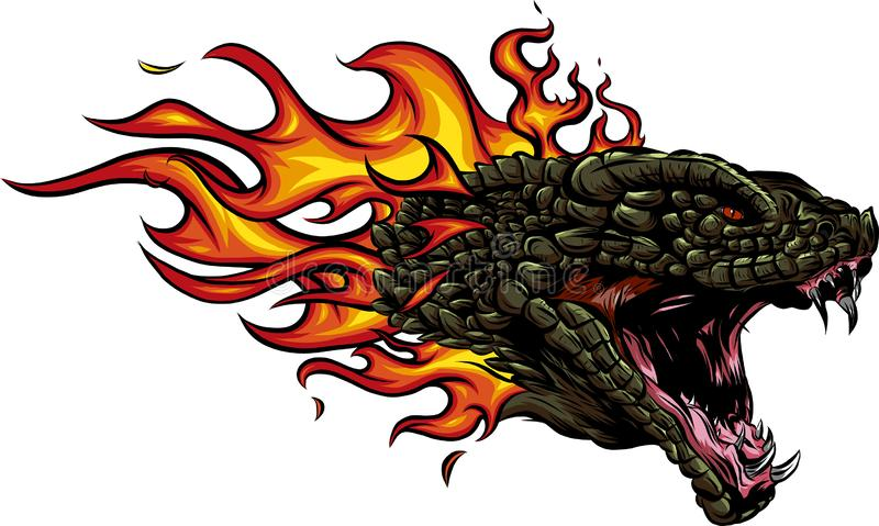 A head of the Dragon in fire with flames stock illustration