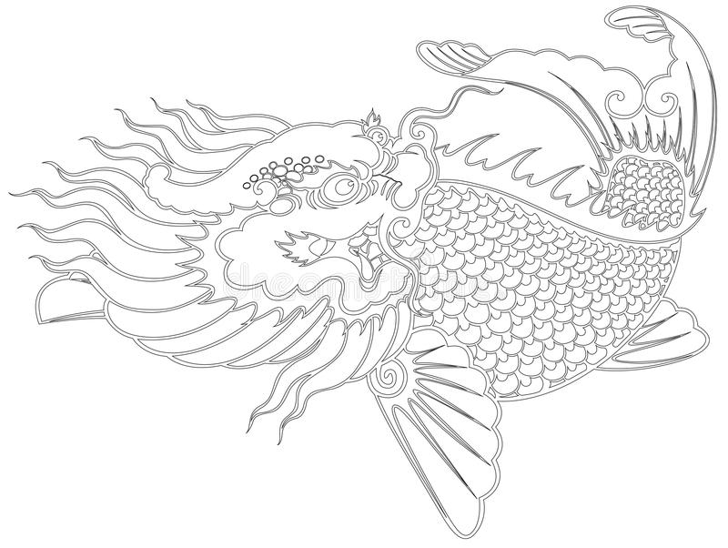 Dragon fish chinese style vector illustration