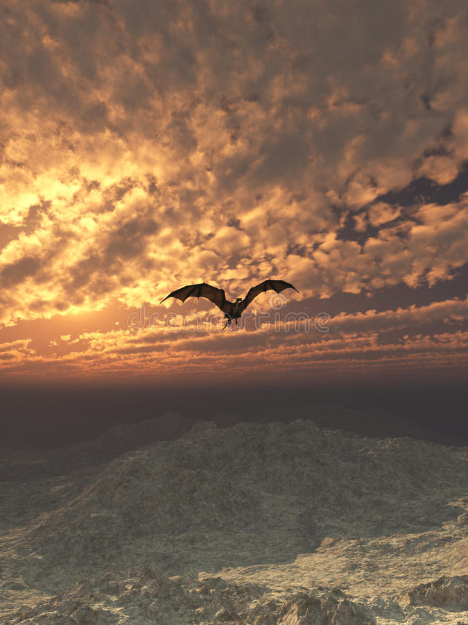Dragon Flying au coucher du soleil