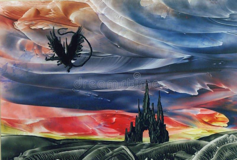 Dragon Flying over Castle vector illustration