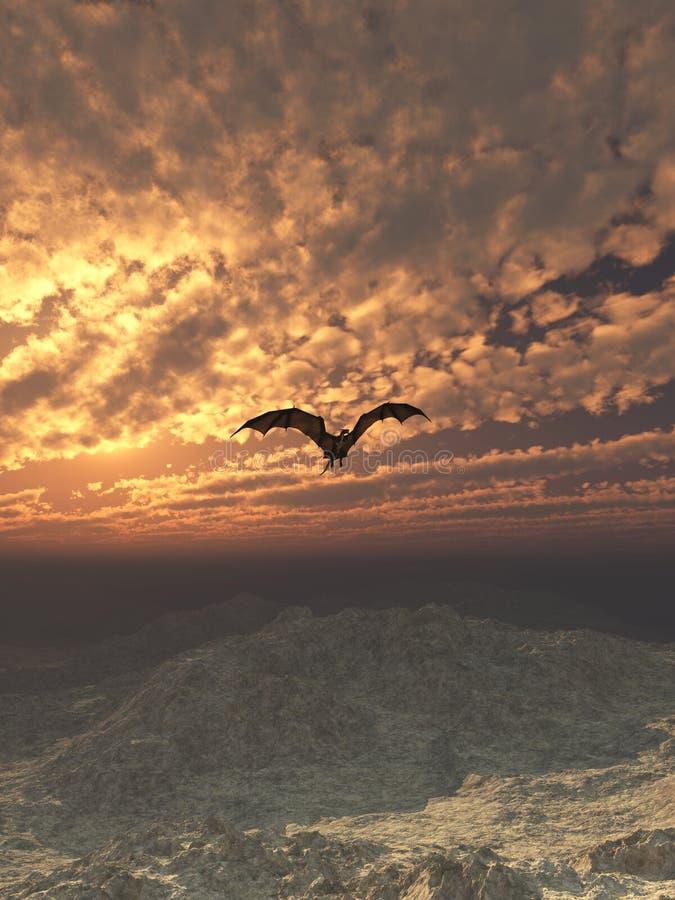Download Dragon Flying at Sunset stock illustration. Illustration of clouds - 42977932